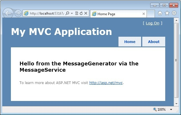 MVC View Displaying The Message Created By The The MessageService And MessageGenerator