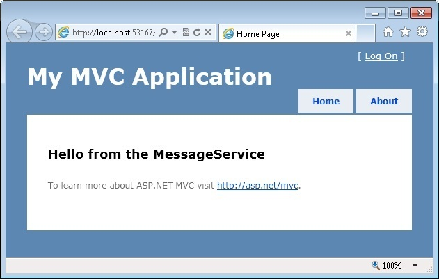 MVC View Displaying The Message Created By The The MessageService