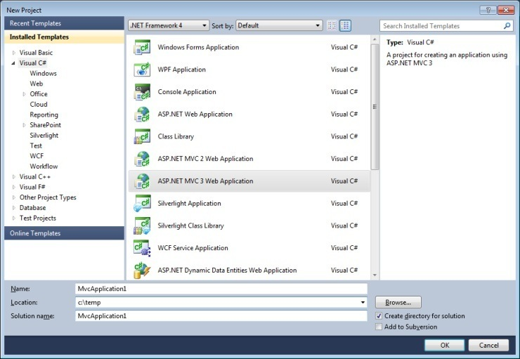The Visual Studio 2010 New Project Dialog