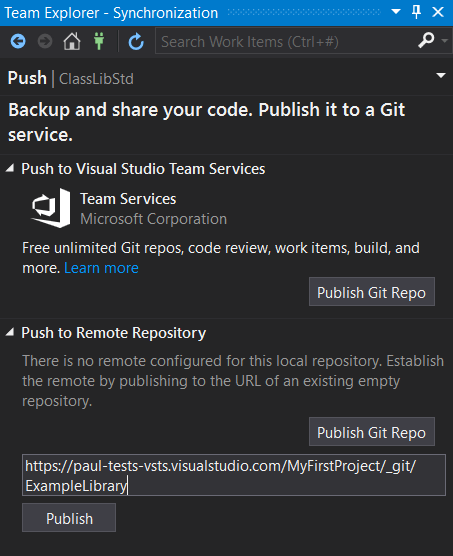 VS push to remote repo