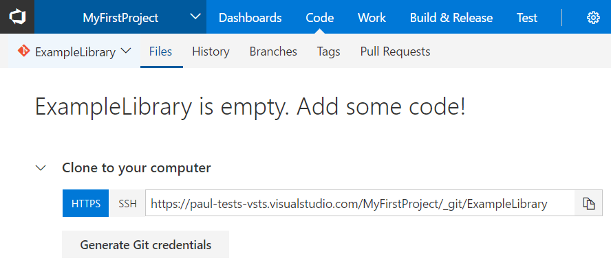 VSTS new repository created